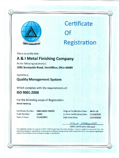 Architectural & Industrial Metal Finishing ISO-9001